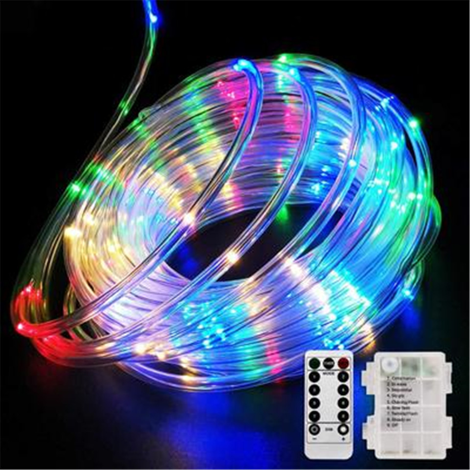 10M 100LEDs Copper Wire String Lamp Garden Birthday Remote Battery Wedding Outdoor Party Tube Light Hose Lamp Lantern