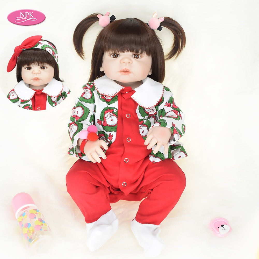 Xmas Gifts For Kids 57CM Realistic Baby Girl Reborn Doll Full Body Silicone Bath Toy Lifelike Toddler Princess Dolls Reborn Bebe