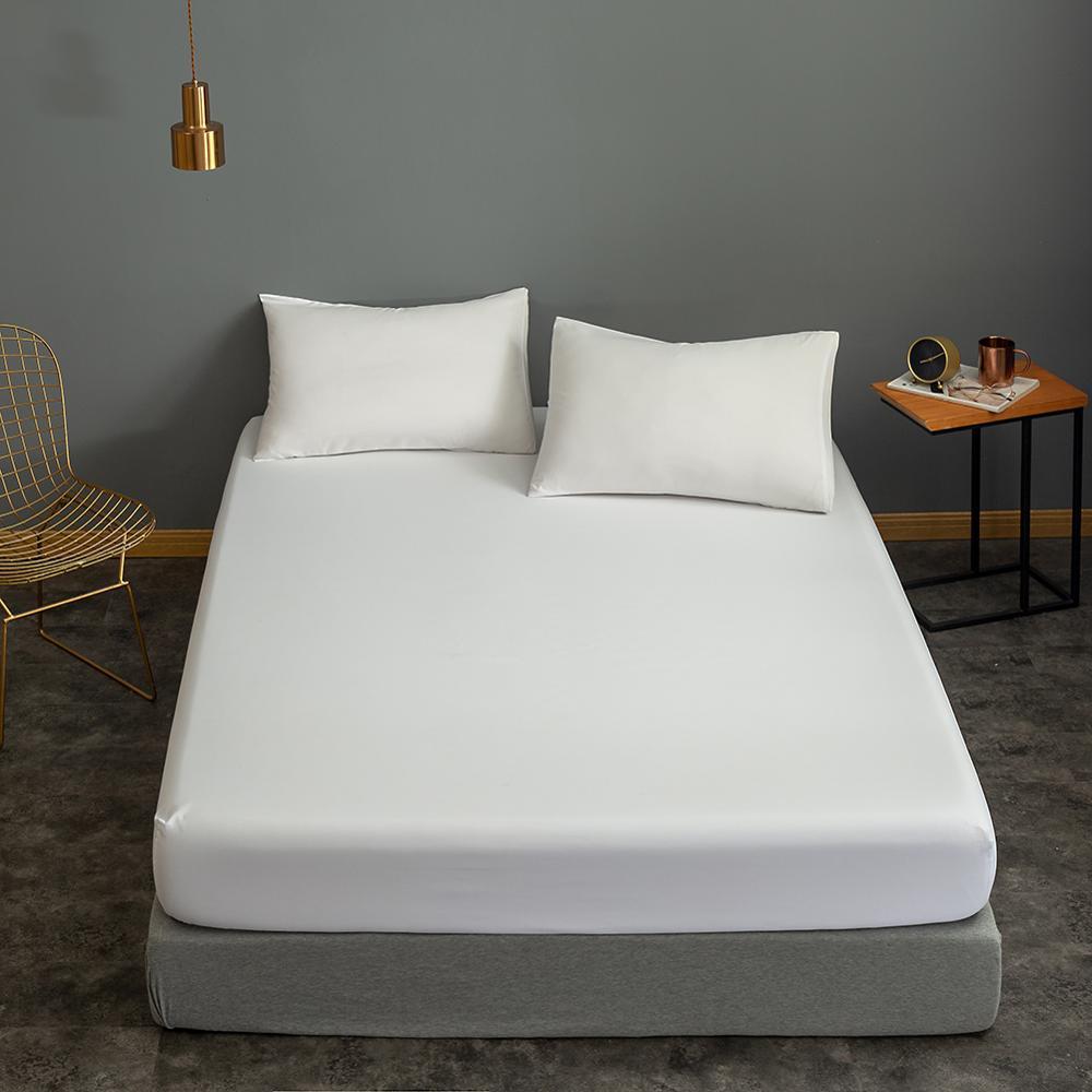 Bonenjoy 1pc Black Color Fitted Sheet Single/Queen/King Size drap de lit Bed Sheet Sets Solid Double Bed Sheets (no Pillowcase) 10