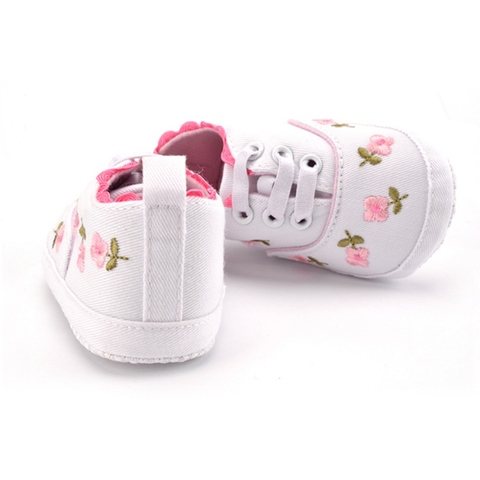 Baby Girl Shoes White Lace Floral Embroidered Soft Shoes Prewalker Walking Toddler Kids Shoes First Walker Islamabad