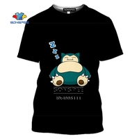 SONSPEE Cartoon Pokemon Snorlax T-shirt 3D Print Men Women Tshirt Casual Summer Short Sleeve Fashion Oversized Shirts Streetwear 2