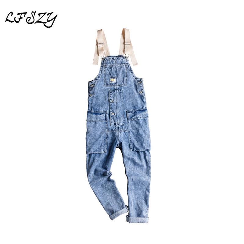 New Retro Tooling Jumpsuit Men's Hip Hop Trend Loose Bib Light Korean Version Of The Suspenders More Size S-XXL