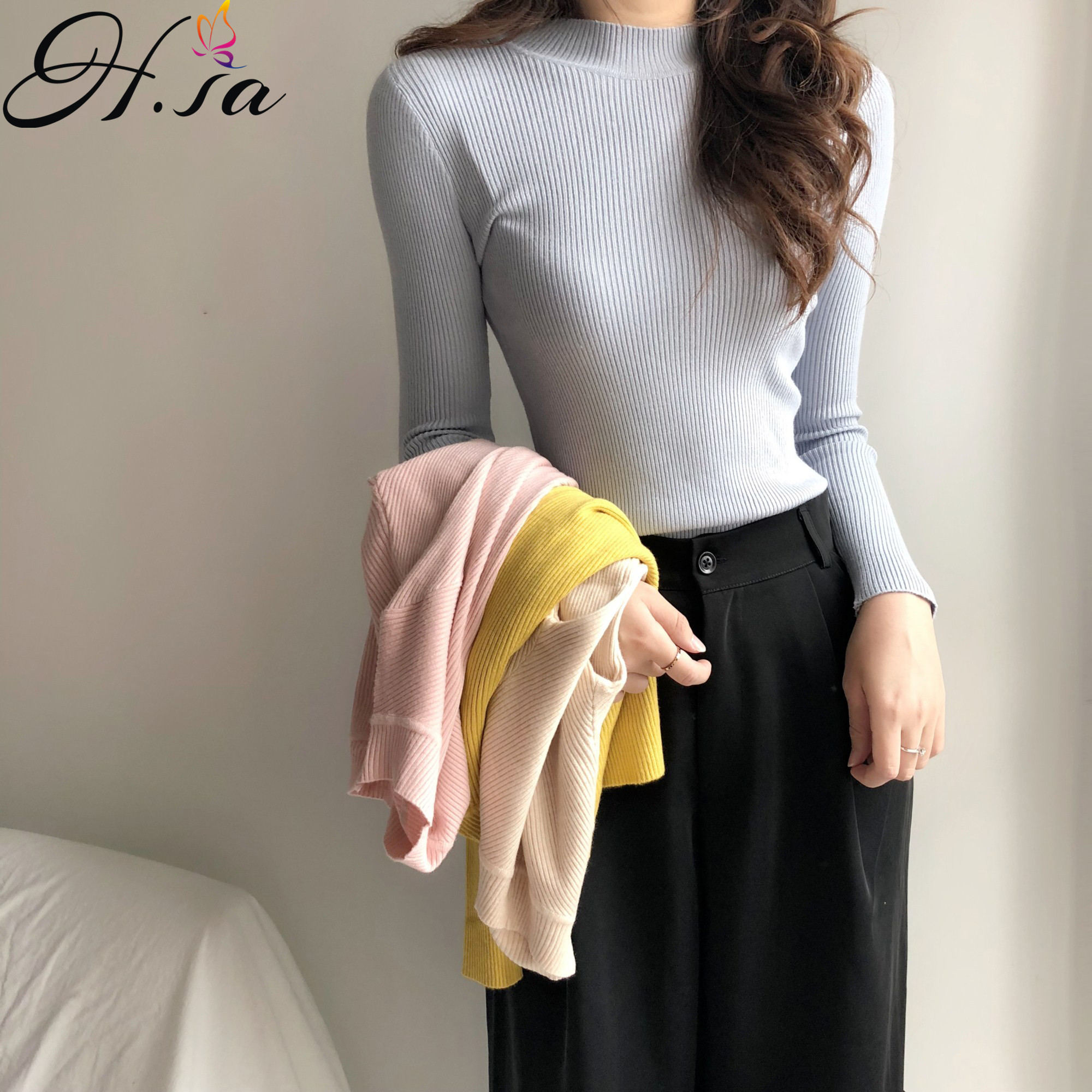 H.SA Autumn Winter Fall Fashion Women Turtleneck Pullover And Sweaters Slim Basic Winter Linner Sweaters Casual Pullovers Top
