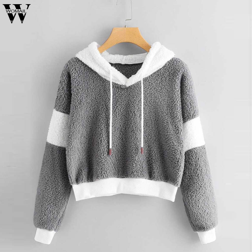 Womail Sweatshirts Women's  Regular Solid Fluffy Drawstring Long Sleeve Autumn Full Patchwork Hoodie Sweatshirt Sudadera S-XL