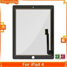 100% Протестировано для iPad 4 A1458 A1459 A1460 Внешний LCD сенсорный Экран дигитайзер запасная Передняя стеклянная панель