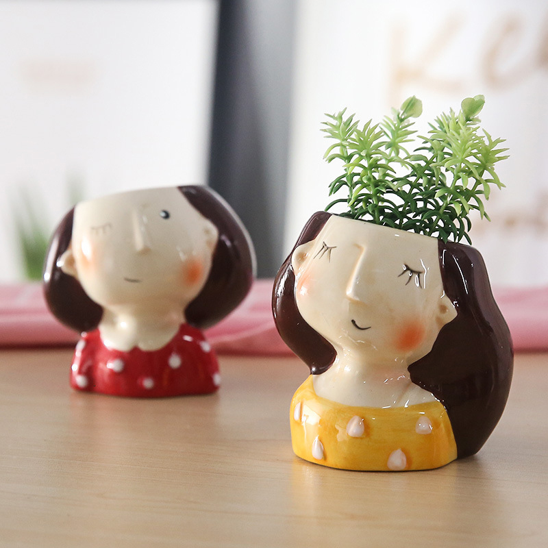 Art Portrait Succulent Flower Pot Vase Arrangement Cartoon Humanoid Plant Pot Mini Bonsai Creative Home Micro Landscape Decor