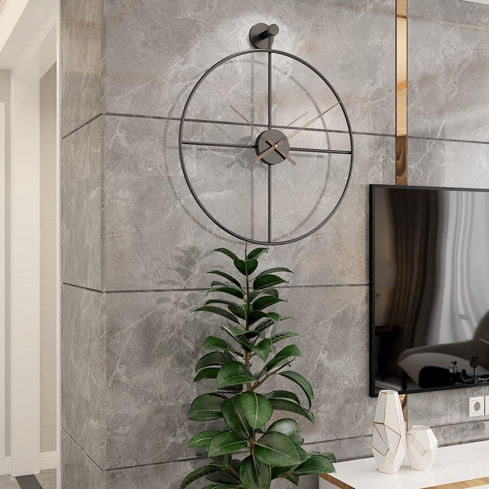 Mode 20 pouces 50cm rétro Style européen horloge murale ménage chambre fer Art horloge décor mural noir cadre noyer pointeur - 4