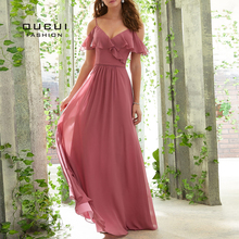 A-Line Spaghetti Straps Floor Length Chiffon Bridesmaid Dress