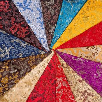 Chinese Brocade jacquard satin fabric for Cheongsam and Kimono fabric with dragon design