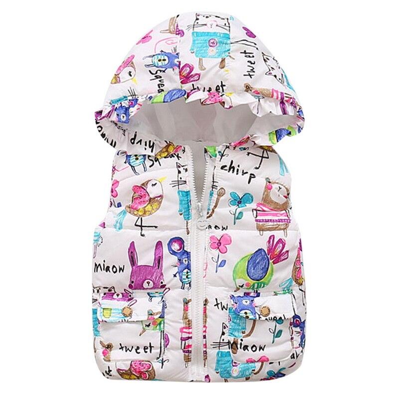 CYSINCOS 2020 Spring Girls Vests Children's Cotton Winter Warm Vest Baby Girls Hooded Waistcoat Girls Print Vest Outerwear