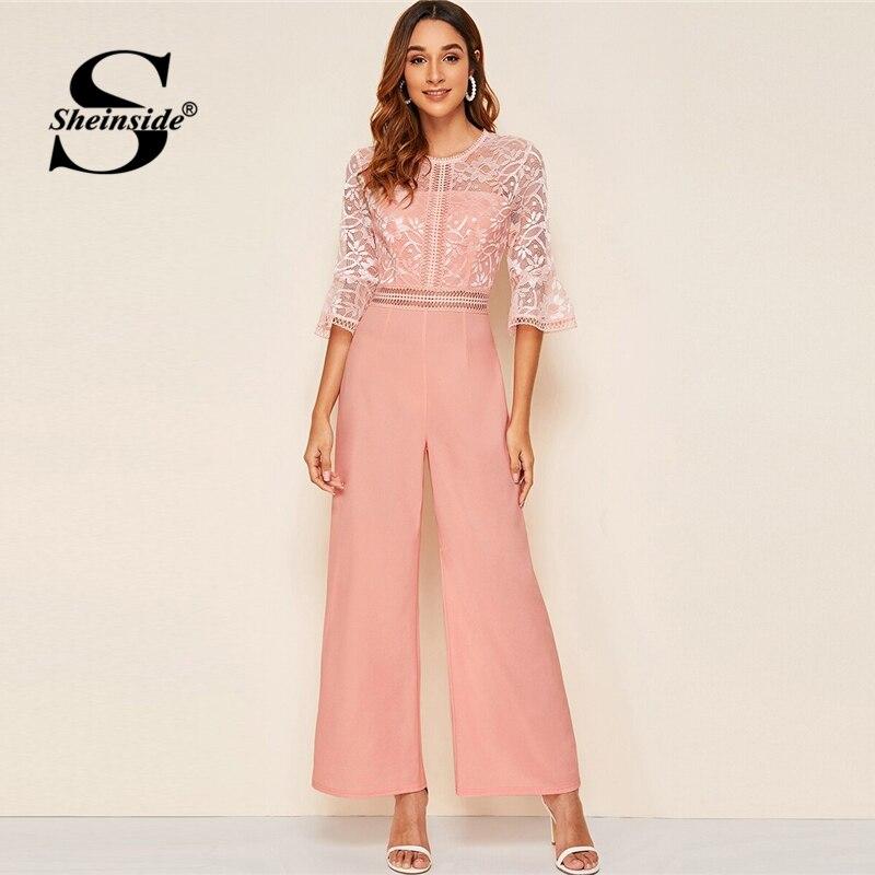 Sheinside Pink Elegant Contrast Floral Lace Wide Leg Jumpsuit Women 2019 Autumn Half Sleeve Jumpsuits Ladies High Waist Jumpsuit
