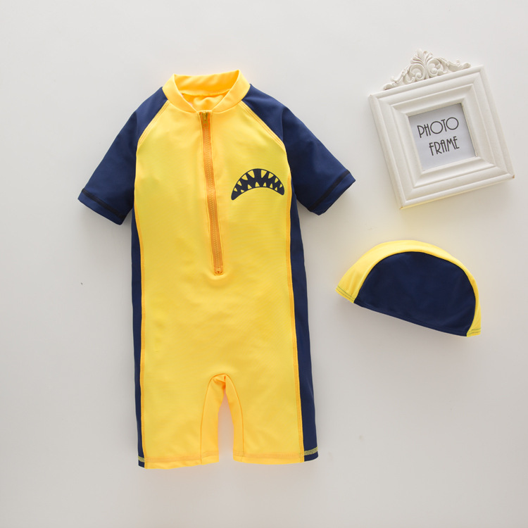 Men's One-piece Swimming Suit Yellow Shark-KID'S Swimwear Hot Springs Clothing