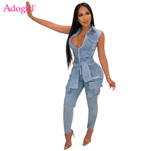Adogirl Fake Sleeve Tie Sleeveless Jeans Jumpsuit Zipper V Neck Turn Down Collar Pockets Skinny Denim Romper Night Club Overalls