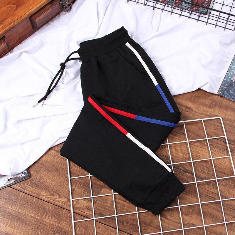 DONAMOL Plus Size 5XL Tricolor Patchwork Striped Harem Pants Trousers Women Length Loose Jogger Sporting Elastic Waist Casual