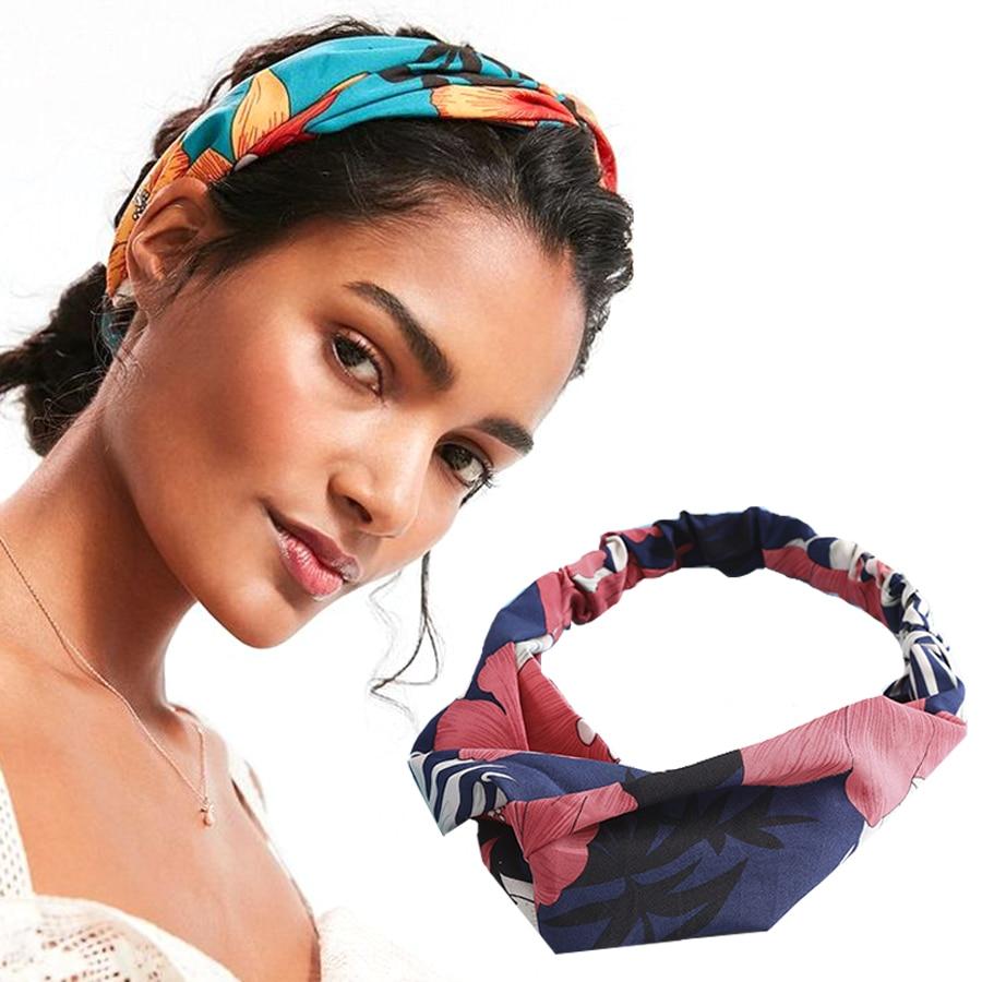 Haimeikang Women Printing Headband Headwear Fashion Elastic Hair Band Turban Hairband Bandage Headdress Hair Accessories
