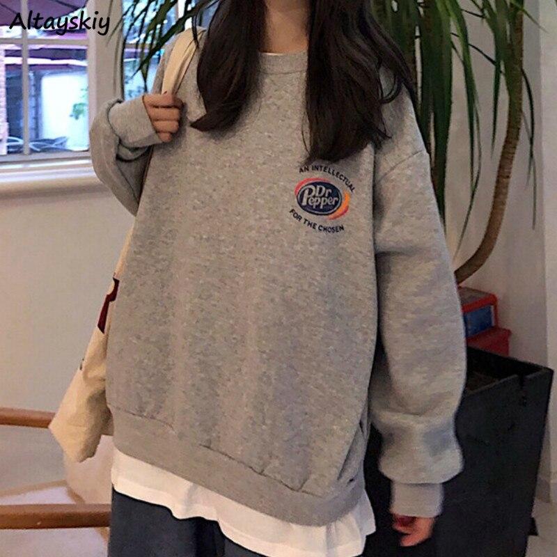 Hoodies Women Printed Letter Loose Long Sleeve Pullovers Sweatshirts BF Harajuku Korean Chic Fashion Womens All-match Streetwear