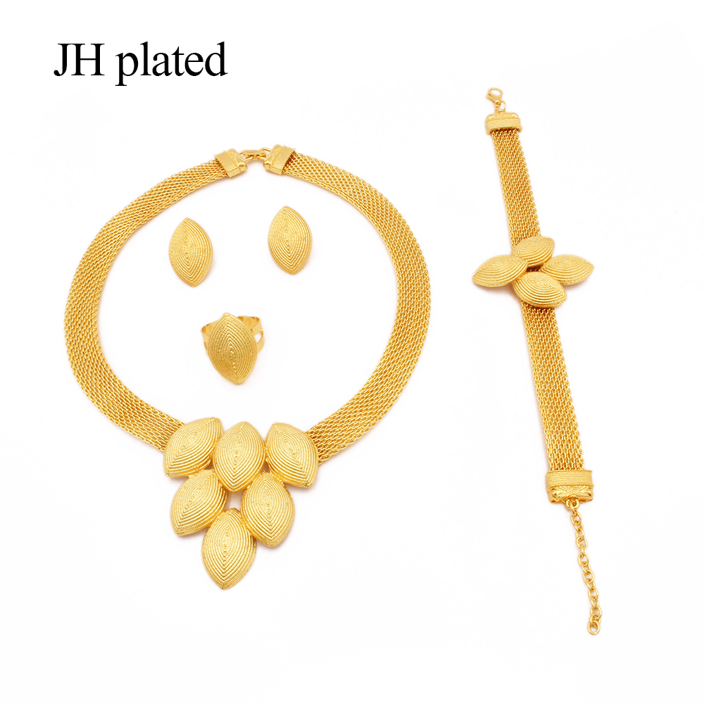 Jewelry sets Ethiopia 24K Gold for women jewellery African wedding gifts bridal party Bracelet round Necklace earrings ring set