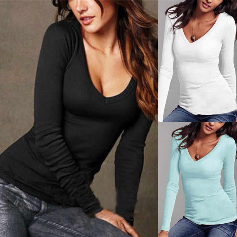 Seksowna damska koszulka z długim rękawem, dekolt w serek, Slim Fit ciepły jesień wiosna prosty T-shirt topy Sheer Slim panie koszulka z golfem