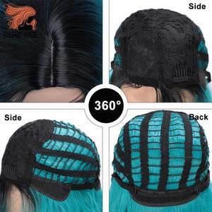 Image 3 - Zarif MUSES 14 inç sentetik Ombre mor mavi peruk kısa su dalga peruk doğal siyah saç peruk kadın isıya dayanıklı
