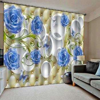 Decoration Blackout curtain 3D Window Curtains For Living Room Bedroom Drapes cortinas Customized size blue rose curtains