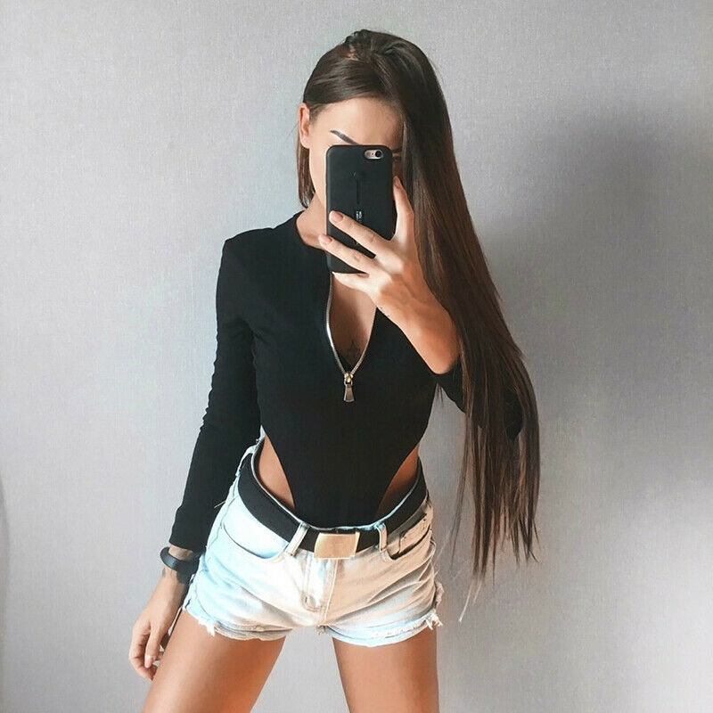 Women's V Neck Long Sleeve Slim Bodysuit Stretch Leotard Tops Romper Jumpsuit Chest Zipper Leotard Tops Mesh Blouse Fashion