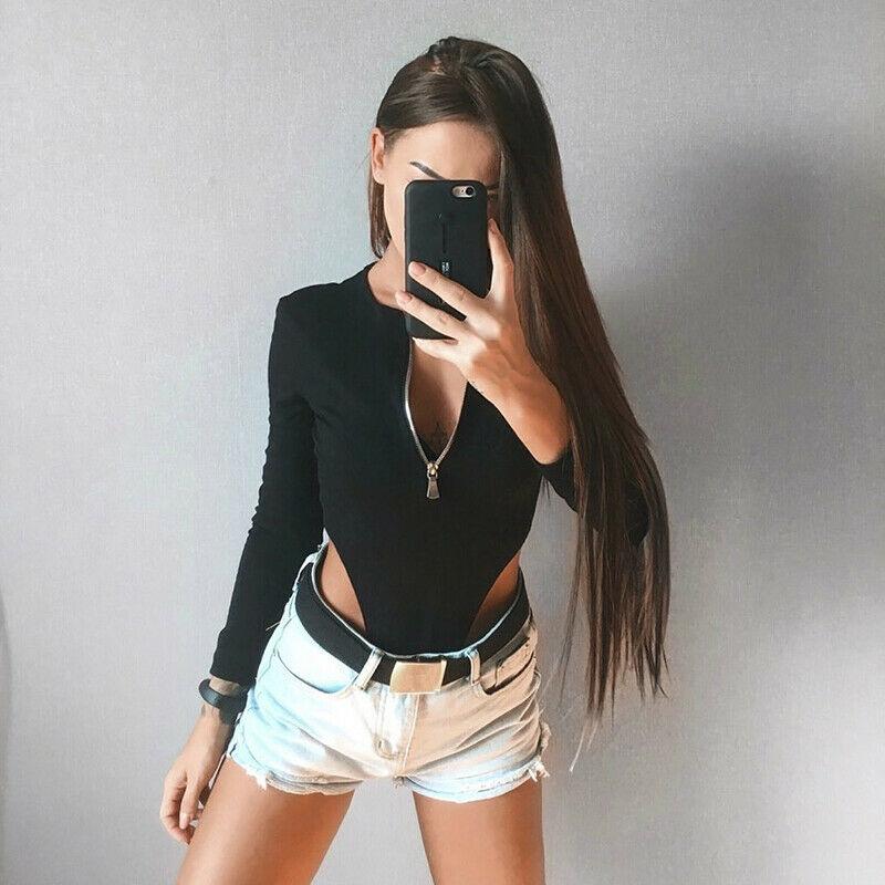 Women's V Neck Long Sleeve Slim Bodysuit Stretch Leotard Tops Romper Jumpsuit Chest Zipper Leotard Tops Mesh Blouse Fashion