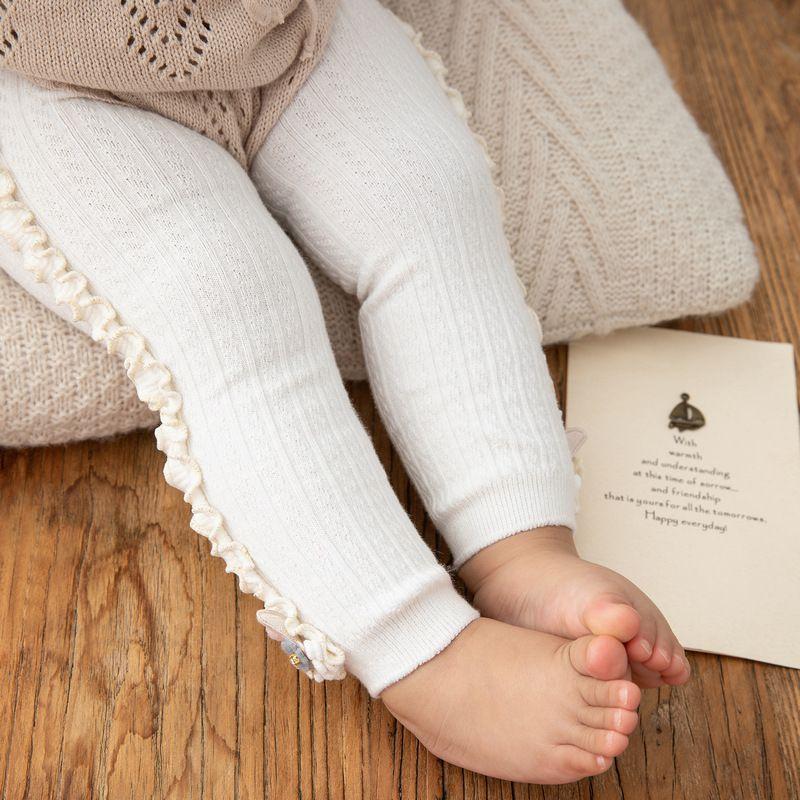 Enfants filles doux mignon épais extensible couleur unie lapin décoration pantalon Leggings bas vêtements goutte