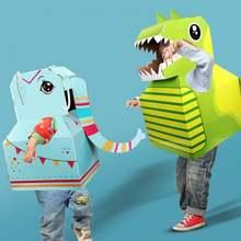 Мультяшный динозавр слон картонная носимые diy Модель детский