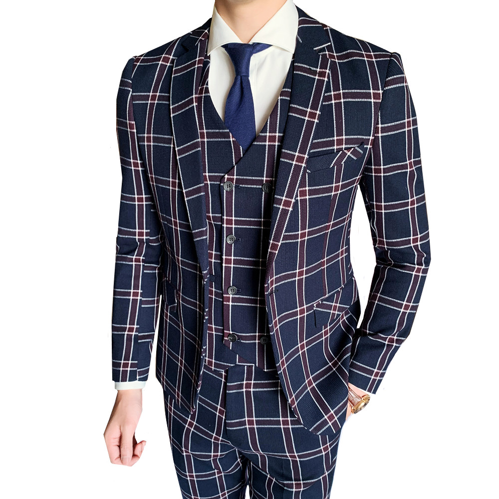 Plaid Men Suits For Wedding Groom Tuxedo Costume 3Pcs Business Formal Party Suits Casual Slim Fit Dress Suits Blazer Vest Pant