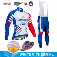 Moxilyn 2019 GROUPAMA FDJ Team Radfahren Jersey und 9D Bike Lange Set Ropa Ciclismo Herren Winter Fleece Warm Radfahren Kleidung herren
