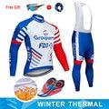 Moxilyn 2019 groupama fdj equipe camisa de ciclismo e 9d bicicleta longo conjunto ropa ciclismo dos homens inverno velo quente ciclismo roupas dos homens