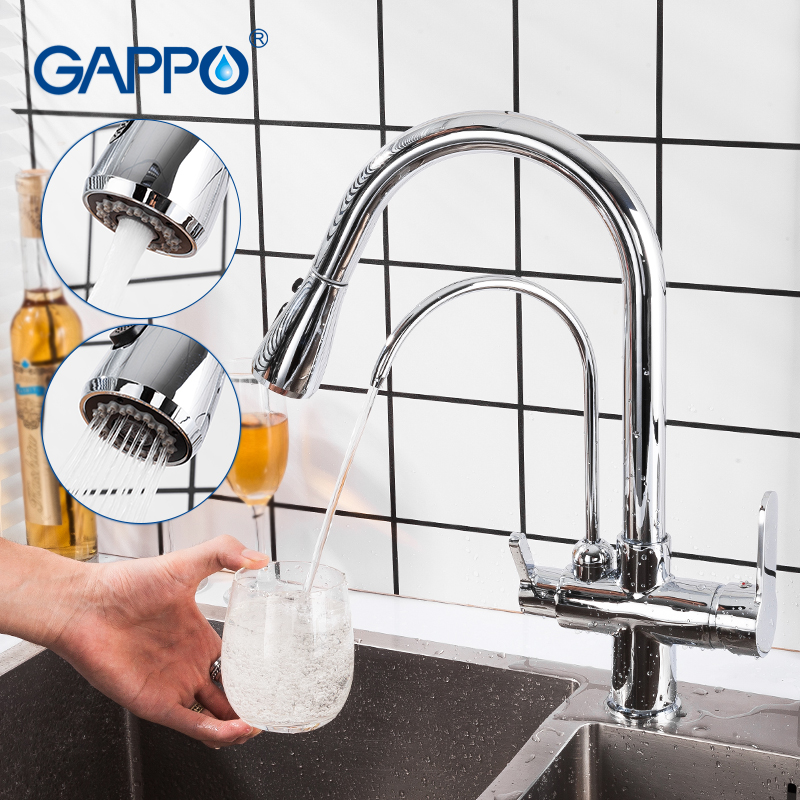 GAPPO Black Faucet Filtered Crane For Kitchen Pull Out Spray 360 Rotation Water Filter Tap Three Ways Sink Mixer Kitchen Faucet
