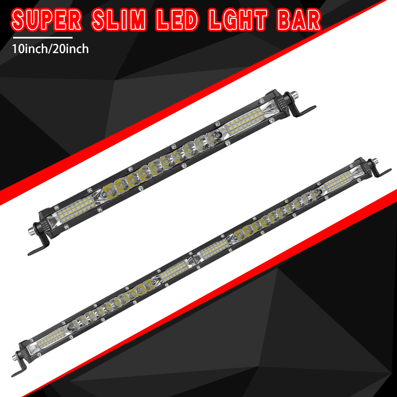 Super Slim Led Light Bar <font><b>10</b></font> 20 inch Combo Beam Single Row Led Bar Offroad for Car Truck 4x4 SUV ATV UAZ SUV 12V 24V Driving Lamp image