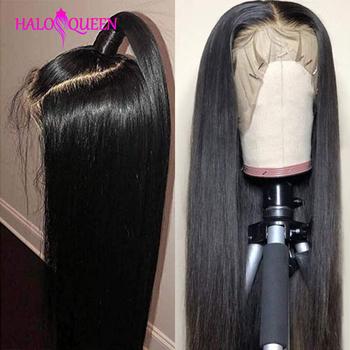 HALOQUEEN prosto koronki przodu peruki dla kobiet Remy włosy malezyjski 130 150 gęstości 13X4 koronki przodu peruki proste włosy ludzkie peruki tanie i dobre opinie Remy Ludzki Włos Średnia wielkość Long Lace Front wigs Lace Frontal Wigs Remy Hair Half Machine Made Half Hand Tied