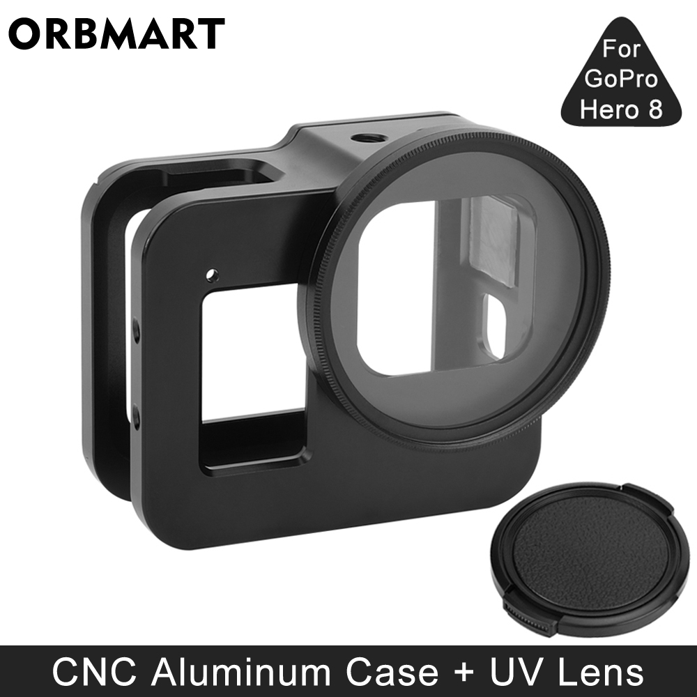 Aluminum Alloy Protective Case for GoPro Hero 8 Black Metal Frame Cage   UV Lens Filter for Go Pro 8 Camera Accessories
