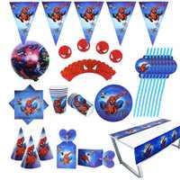 Conjunto de suministros para fiesta Spider man servilletas platos mantel tazas cuchillos tenedores cucharas Spiderman decoración de fiesta de cumpleaños niños