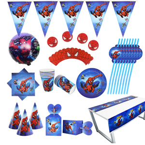Spider man Party supplies Set Box Napkins Plates Tablecloth Cups Knives Forks Spoons Spiderman Birthday Party Decoration Kids