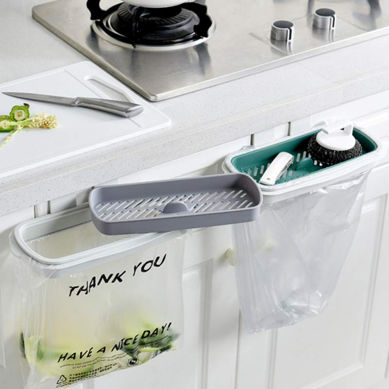 Kitchen Hanging Cabinet Cupboard Door Back Stand Trash Rack Style Storage Garbage Bags Trash Holder  Hot
