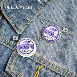 QIHE JEWELRY Bottle Cap Enamel Lapel Pins Grape Soda Brooches Badges Fashion Creativity Pins Gifts for Friends Wholesale