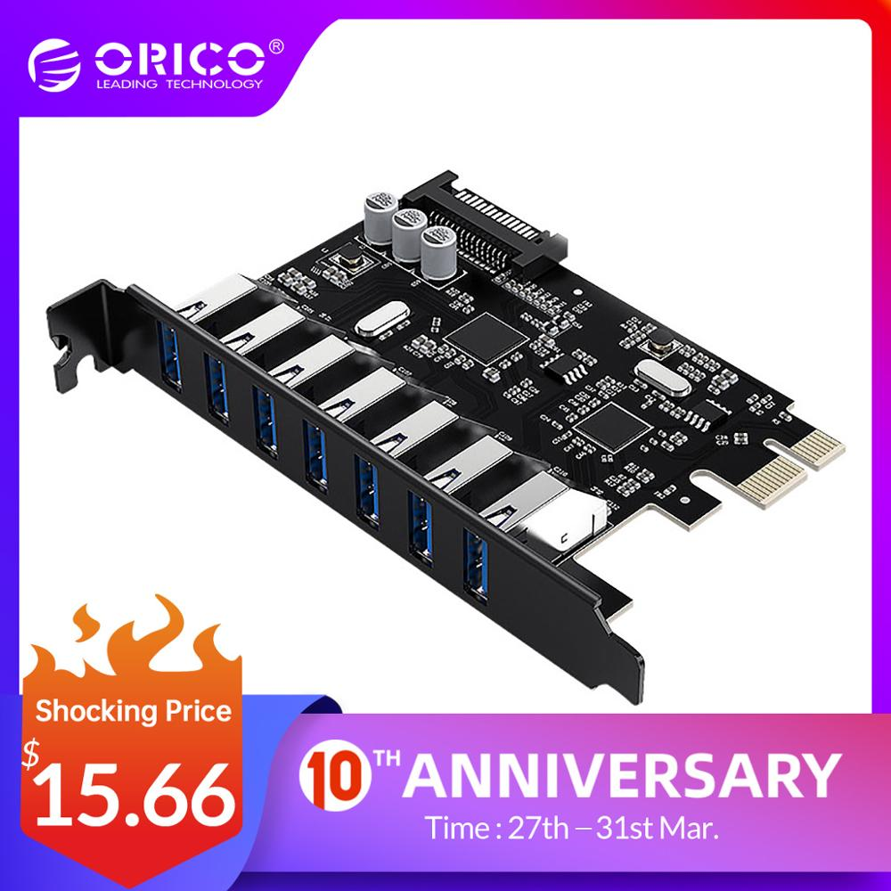 ORICO SuperSpeed USB 3.0 7 Port PCI-E Express Card With A 15pin SATA Power Connector PCIE Adapt VL805 And VL812 Chipsets