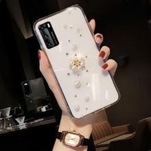 Diamond Case Voor Huawei P40 Lite 5G E P30 P20 2019 Pro P10 Lite Handgemaakte Bling Shiny Back Cover transparante Zachte Siliconen Case