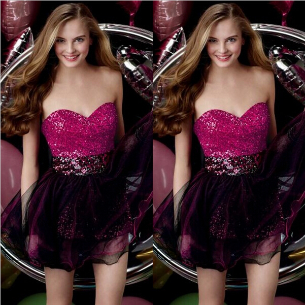 Lace Up Sexy Backless Sweetheart Shirt Mini Prom Dresses 2015 A-line Party Evening Dress Custom Made Rose Red Sequined