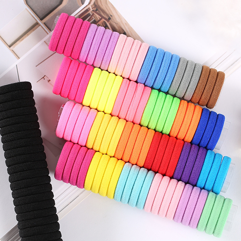 100PCS Women Girls 4CM Candy Colors Nylon Elastic Hair Bands Ponytail Holder Rubber Bands Scrunchie Headband Hair Accessories