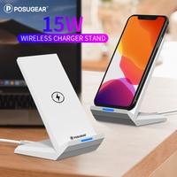 Cep telefonları ve Telekomünikasyon Ürünleri'ten Kablosuz Şarj Cihazları'de Posugear 15W kablosuz şarj cihazı telefon standı masa şarj masa üstü tutucu iPhone X XS 8 11 Pro Samsung s10 s9 s8 hızlı şarj