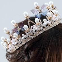 Luxury Crystal Wedding Butterfly Bridal Crown Tiaras Headband Jewelry Dress Accessiories Rhinestone Pearl Headdre