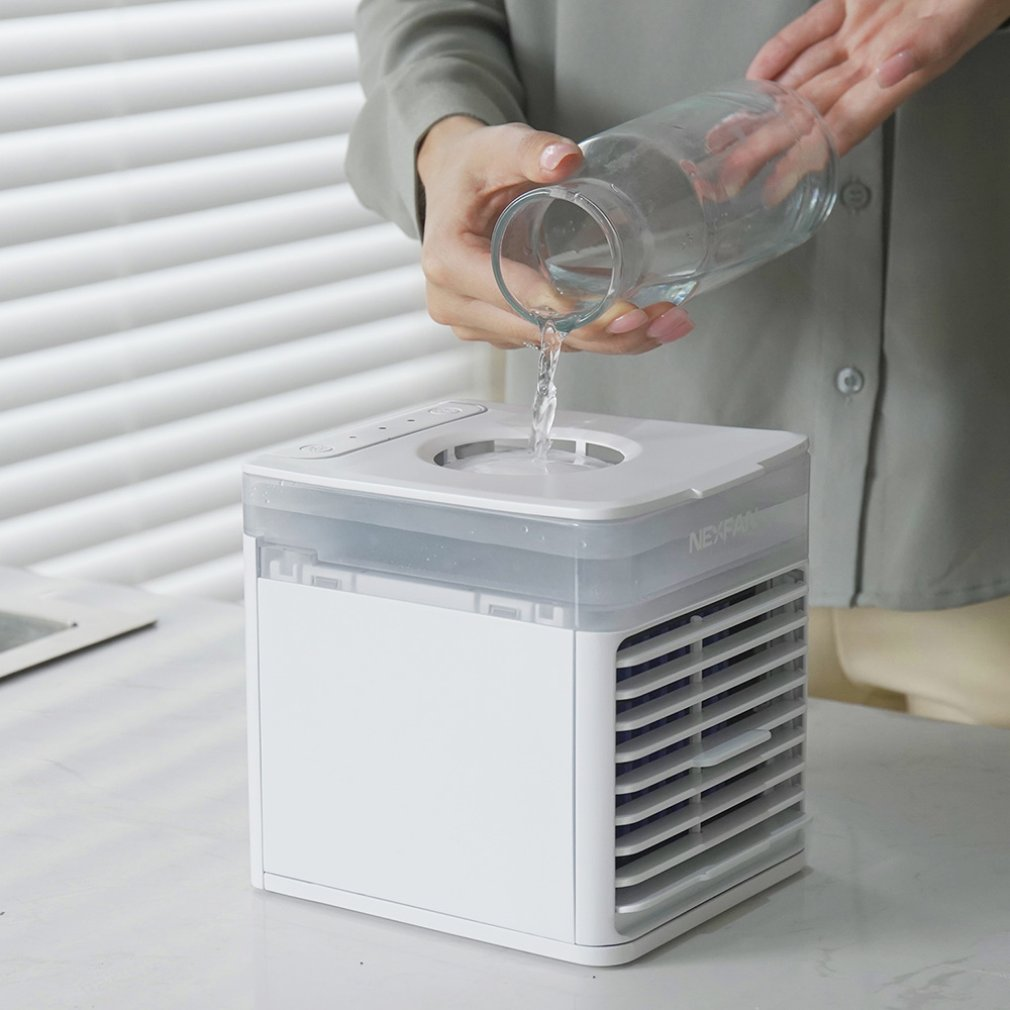 USB air cooler  Mini Portable Air Conditioner Humidifier Purifier Light Desktop Air Cooling Fan for Office Home 2