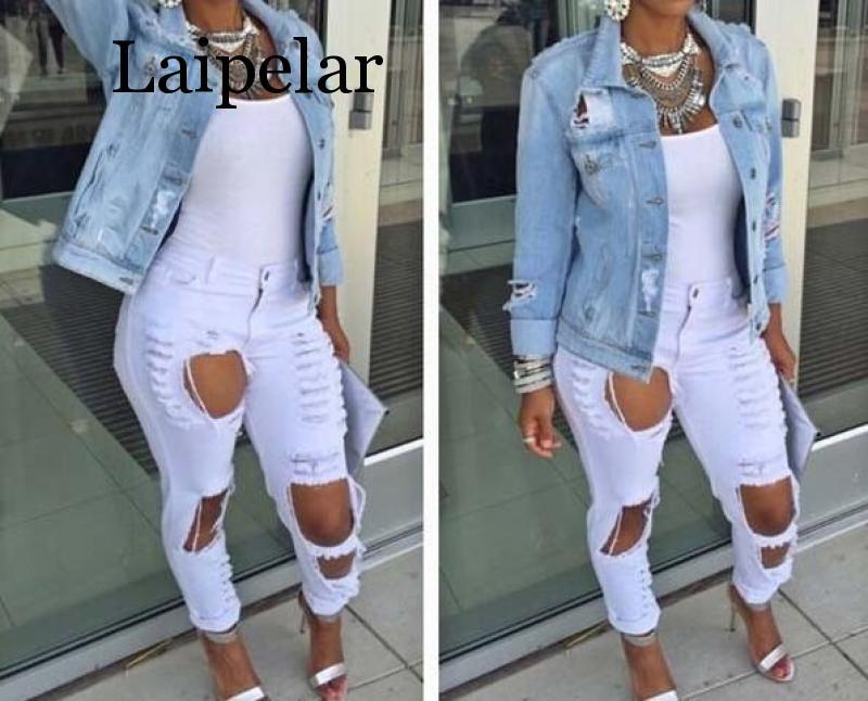 Laipelar Women Autumn Fashion Plus Size Jeans   jackets   for wome Casual Streetwear Lady Denim Broken Loose Style Female   Basic   Coat