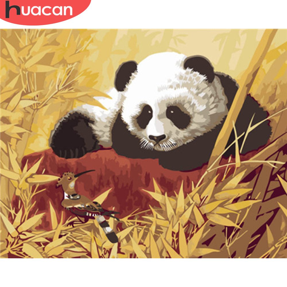 HUACAN Pictures By Numbers Panda Animals HandPainted Kits Drawing Canvas Painting Music Home Decoration DIY Gift