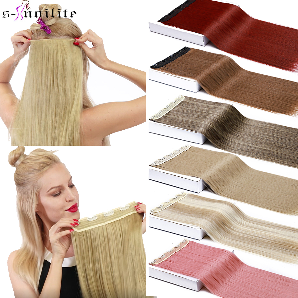 SNOILITE 26'' Long Straight 5 Clips In One Piece Hair Extension Synthetic Clips In High Temperature Fiber Black Brown Hairpiece
