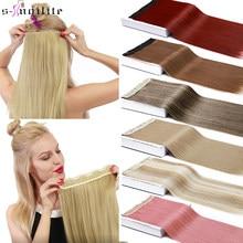 Snoilite 26 long long longa reta 5 clipes em uma parte da extensão do cabelo grampos sintéticos em fibra de alta temperatura preto marrom hairpiece